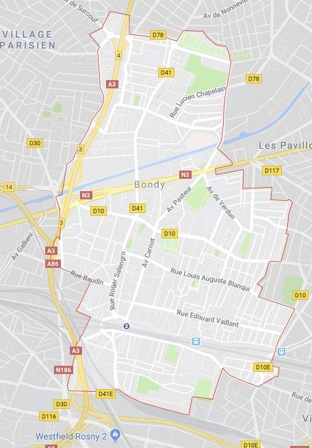 Plan de la ville de Bondy